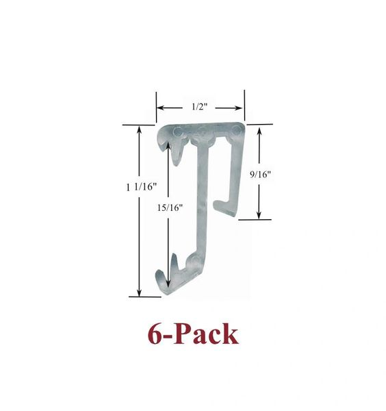 "1"" Single Slat CLEAR VALANCE RETAINER CLIPS for Horizontal Wood or Mini Blinds (6-Pack)"