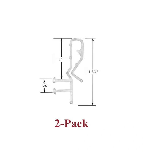 "1 3/4"" Hidden Channel CLEAR VALANCE RETAINER CLIPS (2-Pack)"
