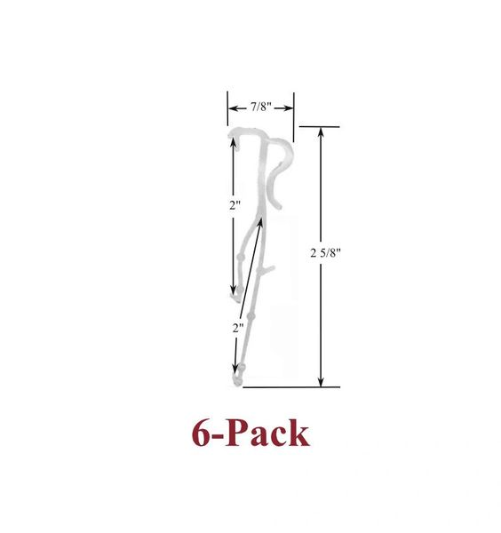"2"" Double Slat VALANCE CLIPS for Horizontal WOOD or ALUMINUM Venetian BLINDS (6-Pack)"