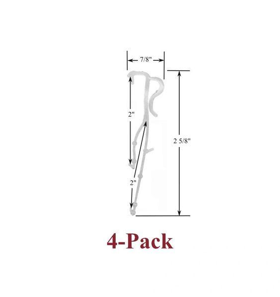 "2"" Double Slat VALANCE CLIPS for Horizontal WOOD or ALUMINUM Venetian BLINDS (4-Pack)"