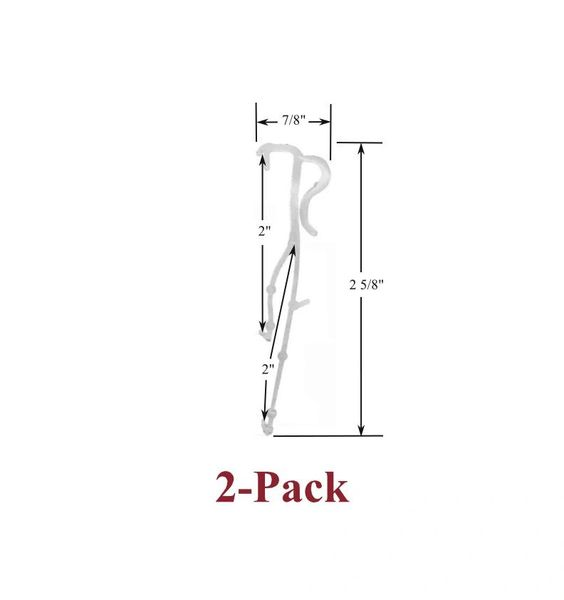 "2"" Double Slat VALANCE CLIPS for Horizontal WOOD or ALUMINUM Venetian BLINDS (2-Pack)"
