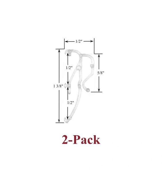 "1/2"" Double Slat CLEAR VALANCE RETAINER CLIPS for Horizontal MICRO BLINDS (2-Pack)"