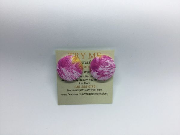 Summer Collection Pink Water Fabric Button Earrings