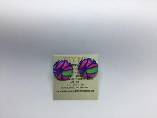 Summer Collection Pinwheel Fabric Button Earrings