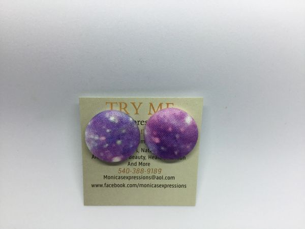 Summer Collection Galaxy Fabric Button Earrings