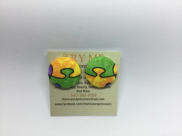 Autism Awareness Yellow, Green Fabric Button Earrings