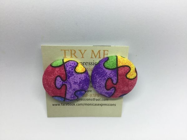 Autism Awareness Pink, Purple Fabric Button Earrings