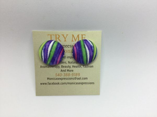 Summer Collection Peacock Grass Fabric Button Earrings