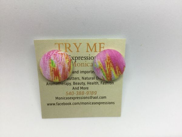 Summer Collection Fire Fabric Button Earrings