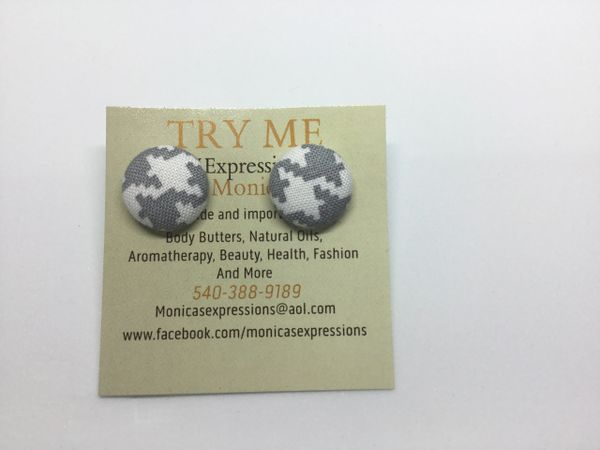 Grey/White Fabric Button Earrings