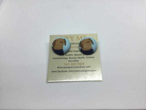 Brown Dog W/ Blue Shirt Fabric Button Earrings