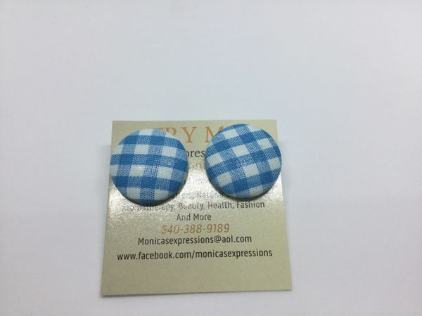 Blue/White Fabric Button Earrings