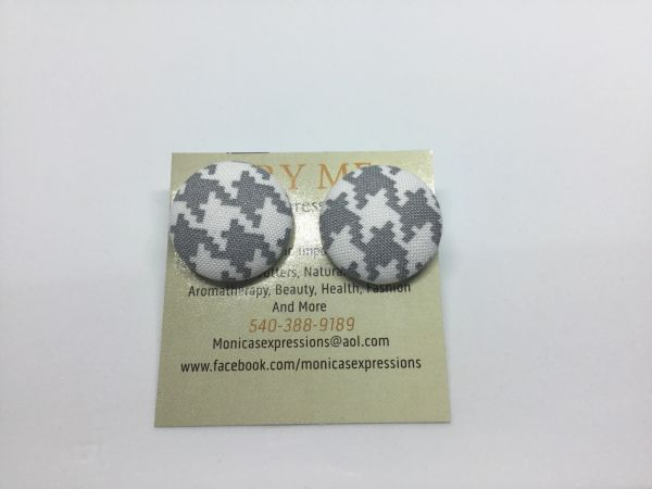 Grey/White Checkered Fabric Button Earrings