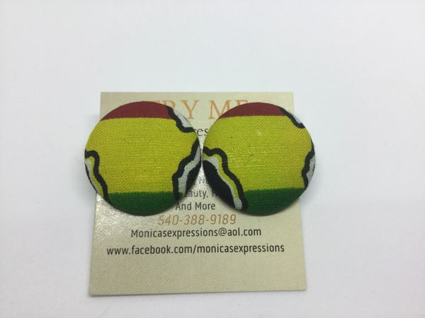 African Map Fabric Button Earrings