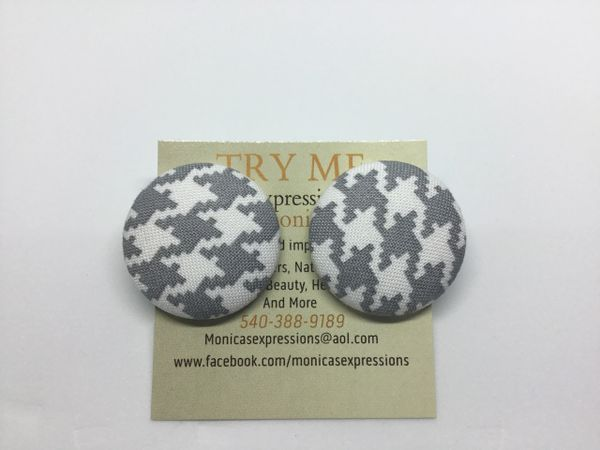 White/Gray Checkered Fabric Button Earrings