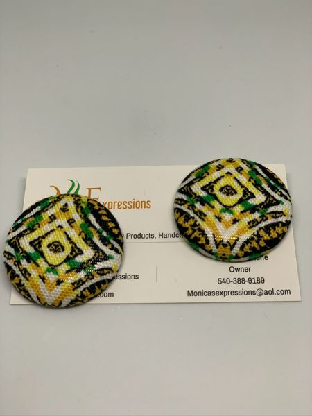 African Fabric Button Earrings