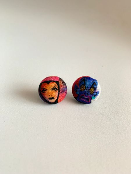 Queen and Evil Fabric Button Earrings