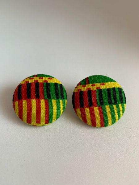 African Red, Green, Yellow Fabric Button Earrings