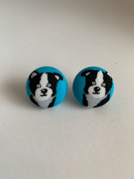 Black, White Dog Fabric Button Earrings