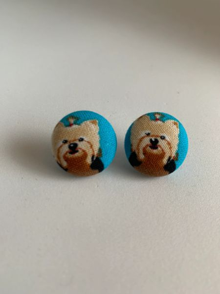 Yorkie Fabric Button Earrings
