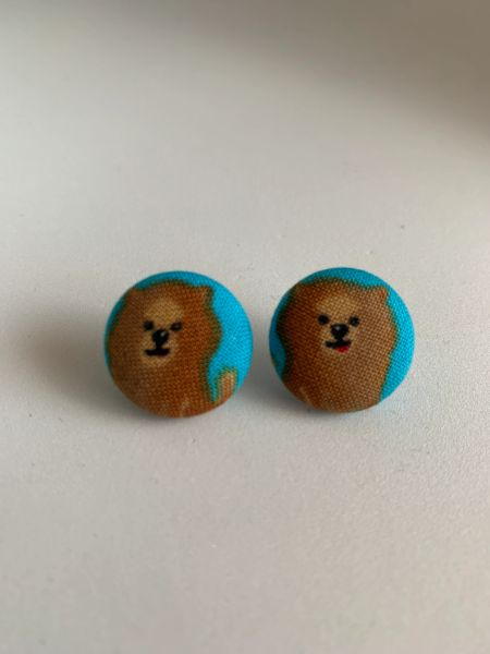 Brown Pomeranian Fabric Button Earrings