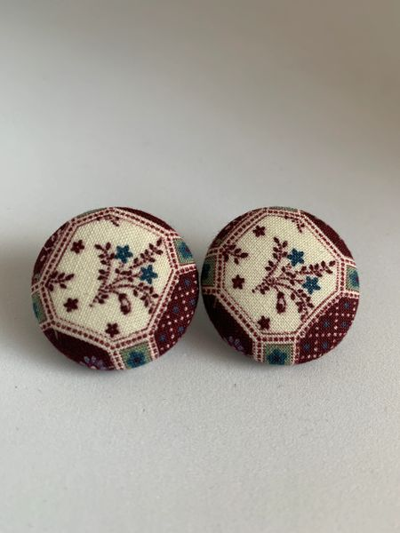 Burgundy Antique Fabric Button Earrings