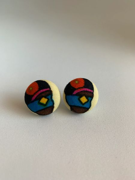 African Woman With Diamond Blindfold Fabric Button Earrings