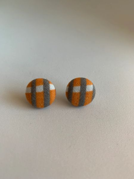 Summer Collection Orange, Gray Fabric Button Earrings