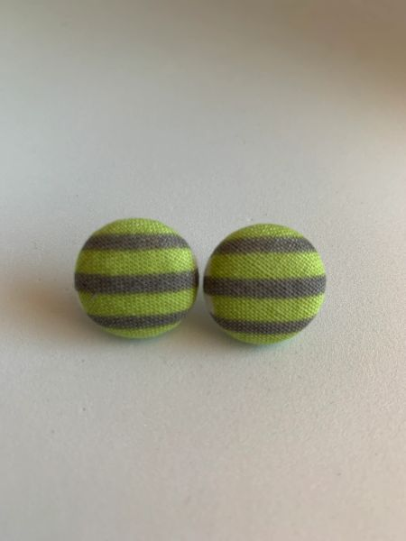 Summer Collection Green, Gray Fabric Button Earrings