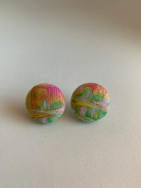 Summer Collection Art Fabric Button Earrings