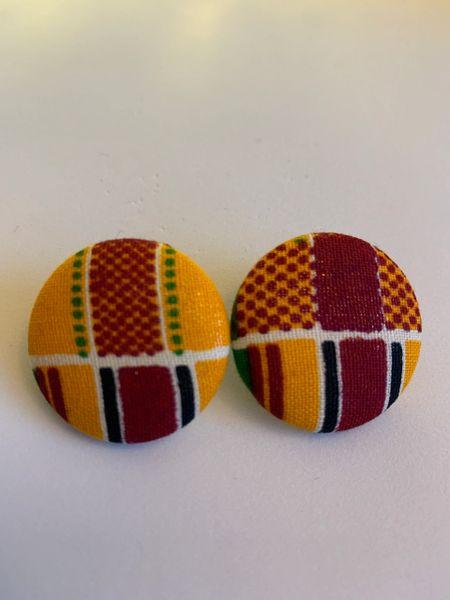 African Double Kente Fabric Button Earrings