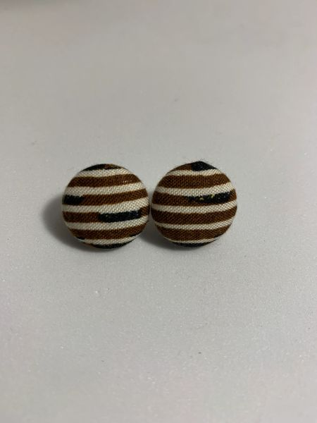 African Safari Behind The Lines Fabric Button Earrings