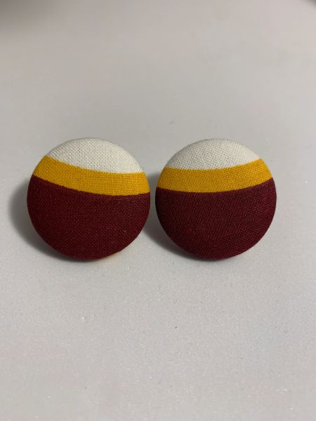 Large Burgundy, Yellow Fabric Button Earrings