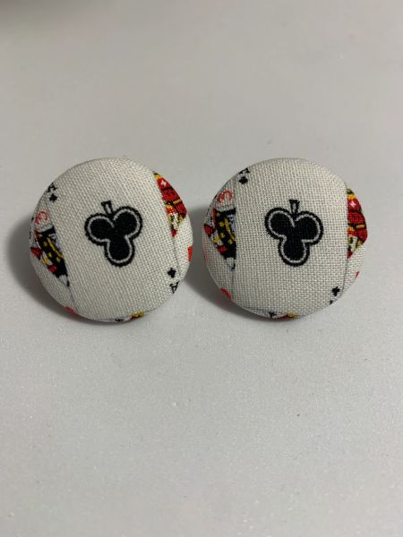 Large Ace Of Clubs Fabric Button Earrings