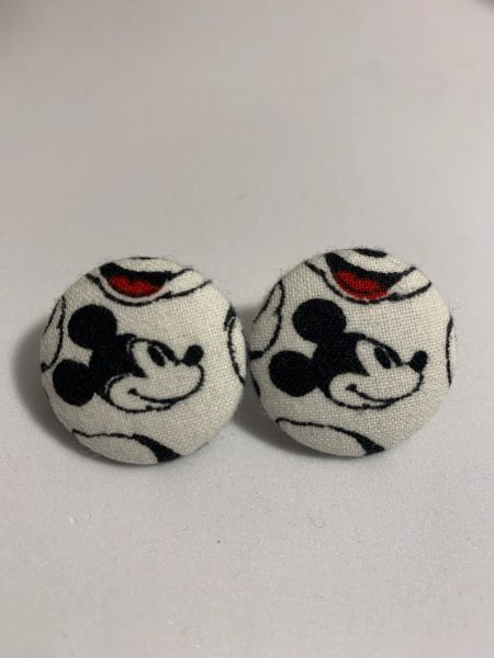 Large Mickey Fabric Button Earrings