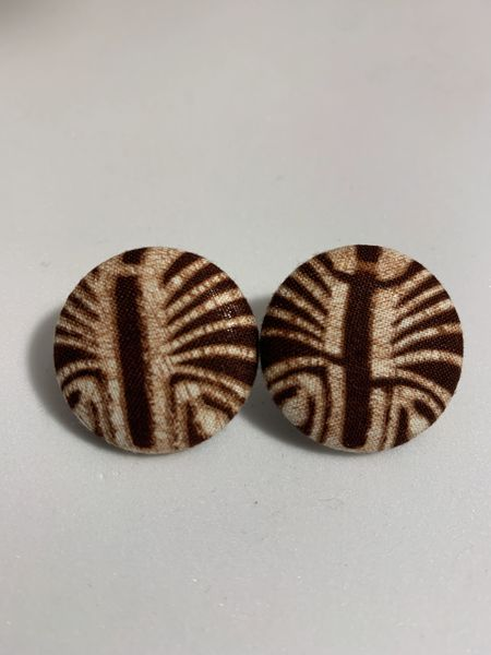Large Centipede Fabric Button Earrings