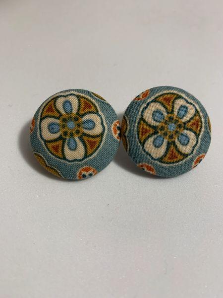 Large Flower Fan Fabric Button Earrings
