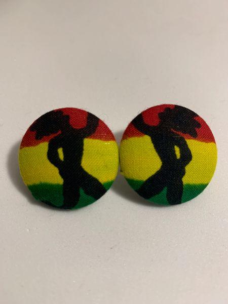 Rasta Fabric Button Earrings