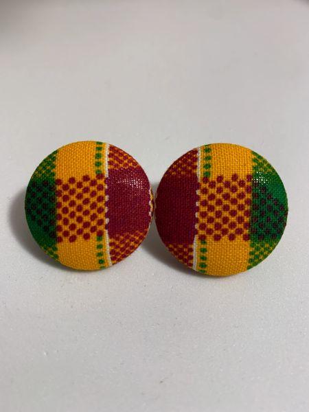 African Kente Fabric Button Earrings