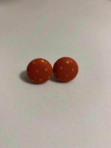 Small Orange Polka Dot Fabric Button Earrings