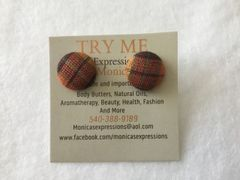 Small Orange Shimmer Fabric Button Earrings