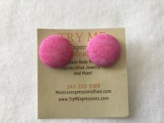 Small Pink Fabric Button Earrings