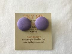 Small lilac Fabric Button Earrings