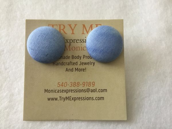 Small Blue Fabric Button Earrings