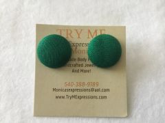 Small Green Fabric Button Earrings