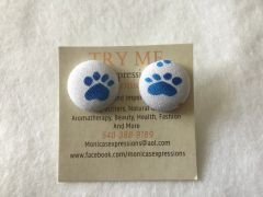 Small Blue Pawprint Fabric Button Earrings