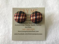 Small Burgundy, Yellow, Black Fabric Button Earrings