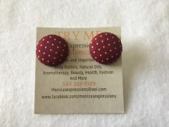 Small Burgundy Polka Dot Fabric Button Earrings