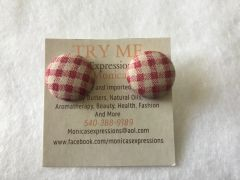 Small Tablecloth Fabric Button Earrings