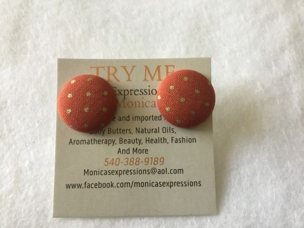 Small Orange Gold Dots Fabric Button Earrings